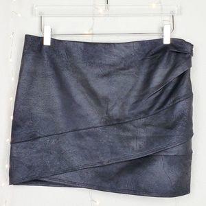 Free People Faux Leather Asymmetrical Mini Skirt
